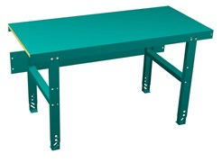 Stable work bench for heavy work and high loads. Sound-damping and shock-absorbing acoustic top and adjustable legs.