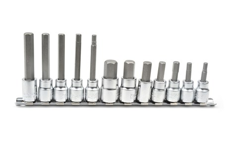 Bit socket set, Hex head, 12-piece, mm