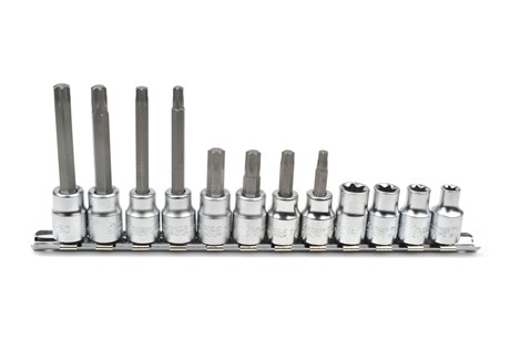 Socket and bit socket set, for Torx* heads, 12-piece