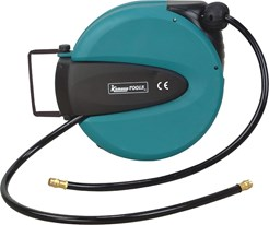 "Heavy-duty hose reel with 3/8"" PU-hose. 1/4"" hose couplings at both ends. Max. working pressure: 15 bar."