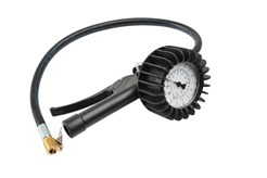 Tire inflator with shock-proof 63 mm gauge and high accuracy. Measures 0-10 bar (0-140 psi). 0.5 m hose and nipple for car/motorcycle.