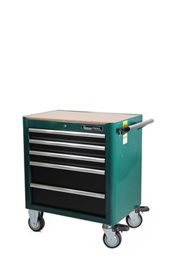 Tool trolley, 5 drawers, green