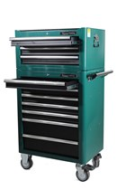 Tool trolley with tools, 10 drawers, green