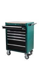 Tool trolley with tools, 7 drawers, green