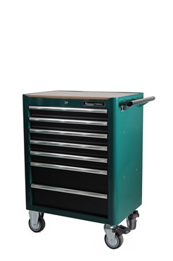 Tool trolley in sturdy double-wall steel construction. The drawers pull out fully and have sturdy, 46 mm ball bearing runners. To avoid the risk of the trolley tipping forward under the weight of the tools, only one drawer can be opened at a time. All drawers are locked with a central locking system. All drawers also have transport locking when closed, ensuring that the trolley can be moved without the drawers sliding out. Large, caster wheels (TPR), two with braking function, 127x50 mm. Wooden panel and heavy-duty rubber mat for the work surface and thinner mats for all drawers are included. All drawers are endurance tested at a 40 kg load for 50,000 cycles. The trolley is endurance tested at a 300 kg load via a 20 km drum test with obstacle. 