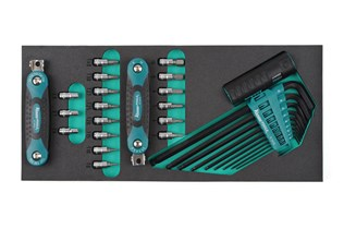 "Hex head and TORX® wrenches and 1/4"" sockets"