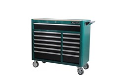 Tool trolley in sturdy double-wall steel construction. The drawers pull out fully and have sturdy, 46 mm ball bearing runners. The large top drawer has double runners. To avoid the risk of the trolley tipping forward under the weight of the tools, only one drawer can be opened at a time. All drawers are locked with a central locking system. All drawers also have transport locking when closed, ensuring that the trolley can be moved without the drawers sliding out. Large, caster wheels (PU), two with braking function, 127x50 mm. Wooden panel for the work surface and thinner mats for all drawers. All drawers are endurance tested at a 40 kg load for 50,000 cycles. The trolley is endurance tested at a 300 kg load via a 20 km drum test with obstacle. 