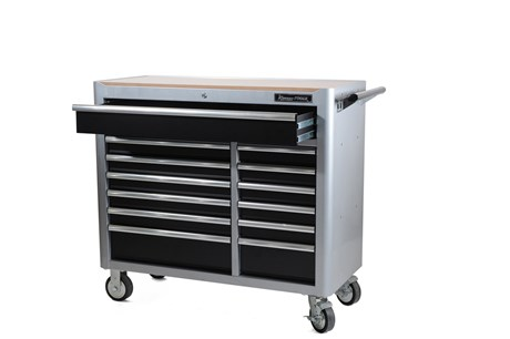 Tool trolley with tools, 13 drawers, gray