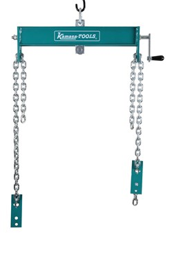 An accessory for the K 21216 workshop crane, facilitates engine hoisting operations. As well as providing a secure attachment, also allows loads to be balanced simply and safely.