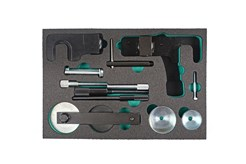 Engine locking tool for Renault 1.5, 1.9, 2.2, 2.3 and 2.5 Diesel engines. Renault Clio, Kangoo, Laguna II, Megane, Espace, Trafic & Master. Complete kit for locking engines, cams, pumps and TDC control.