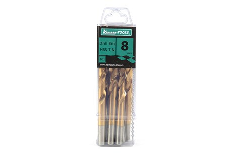 Titanium nitride high-speed steel drills, 10-pack
