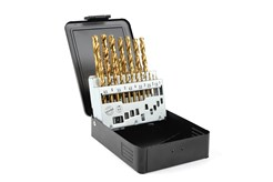 TIN drill set in metal cassette, 19-piece