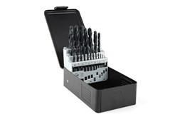 Drill set in metal cassette, 25-piece