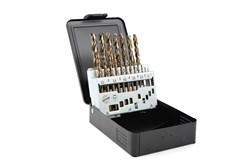Cobalt drill set in metal cassette, 19-piece