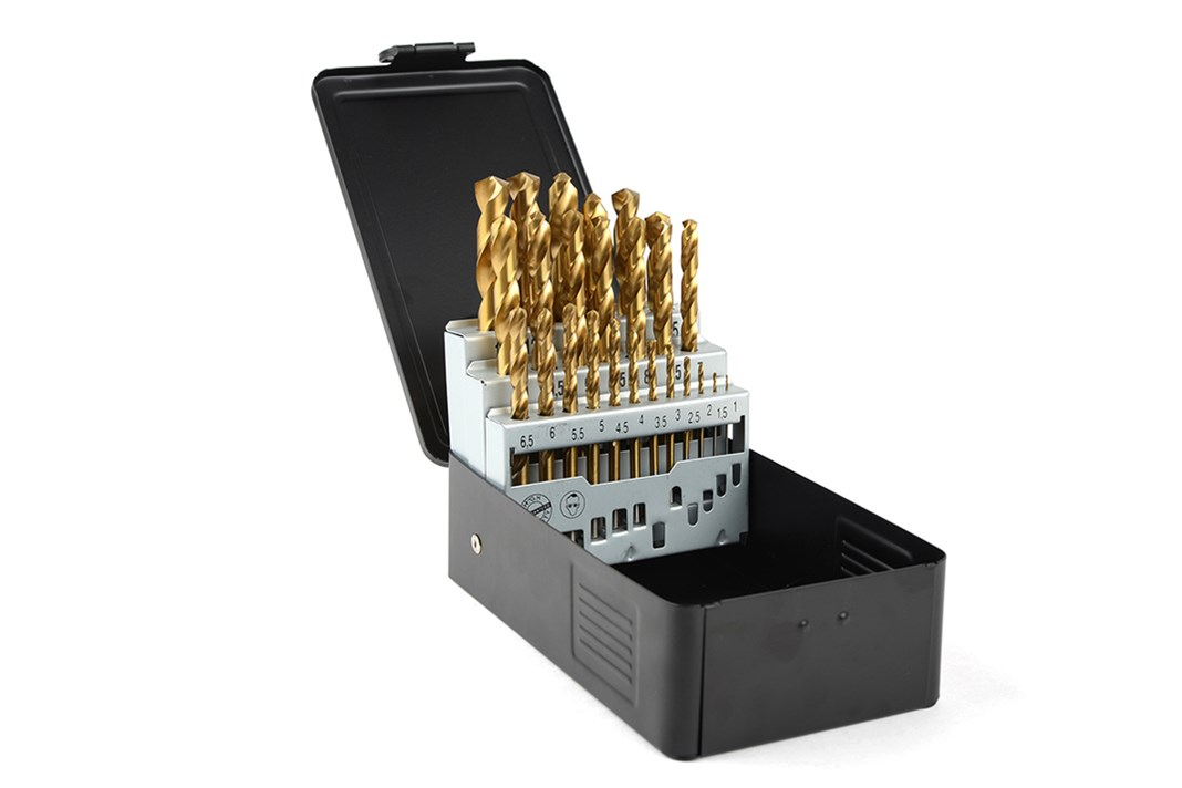 TIN drill set in metal cassette, 25-piece