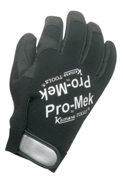 Mechanic's gloves, Pro-Mek, made of Clarino* synthetic leather with top made of stretch material. Reinforced fingertips, inside seams and Velcro closing. Machine-washable.