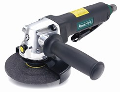 Heavy-duty angle grinder suitable for tougher jobs, e.g., rust and welding jobs. Features handy lock button, facilitating disc changes as well as throttle control with safety lock. The spark deflector can be adjusted to different angles without tools, and support handle can be changed to left or right side.