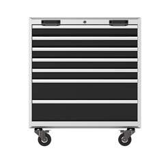 Trolley, 7 drawers, grey