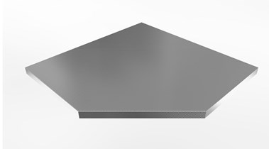 Worktop for corner cabinets, stainless steel