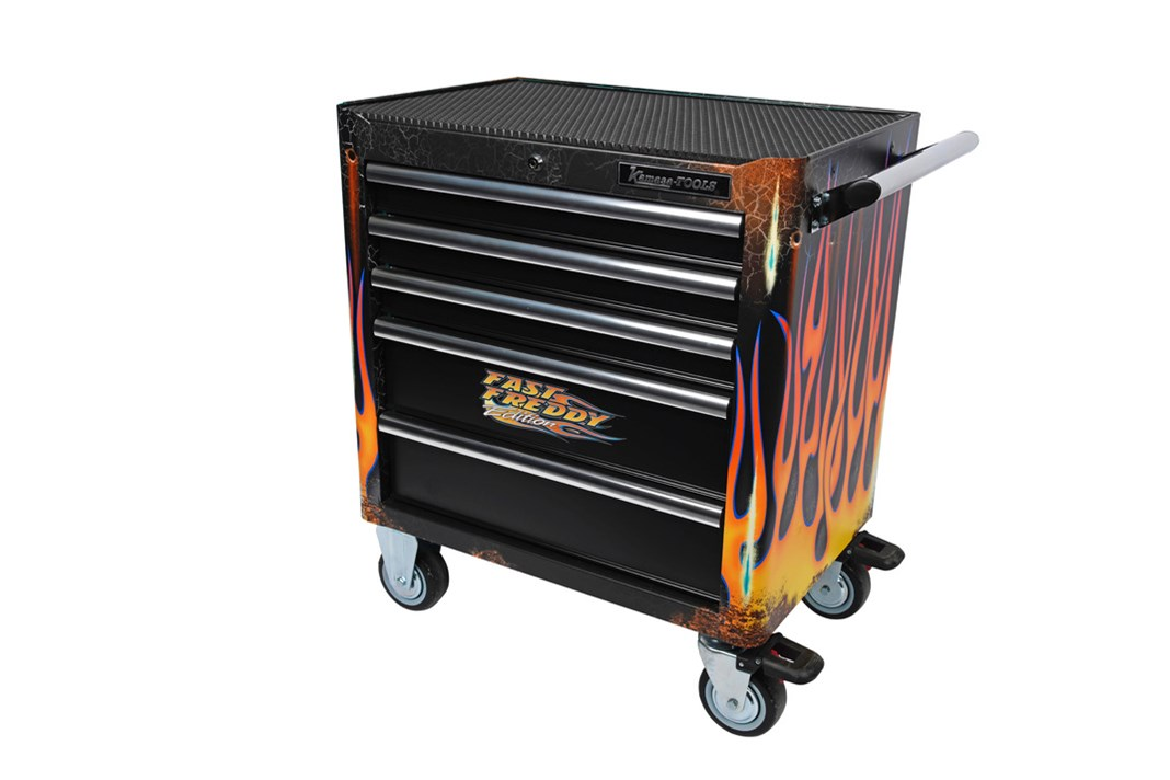 Tool trolley with tools, Fast Freddy Edition, 5 drawers, inch