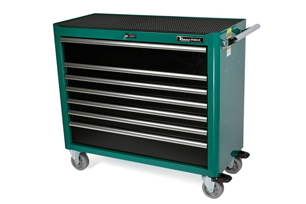Tool trolley, 7 drawers, green