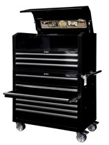 Tool trolley with top cabinet, broad