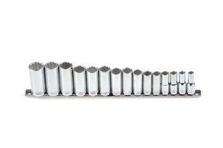 Socket set, long, inch, 14 pcs