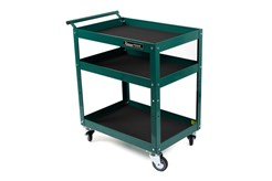 Sturdy trolley with three shelves and high side walls. Large, rubber wheels with bearings, two wheels have brakes. Max. load per shelf: 50 kg.