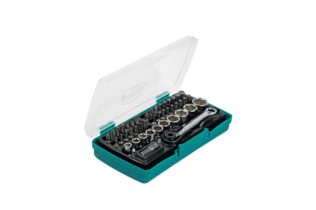 Socket wrench set, 44 pieces, inches